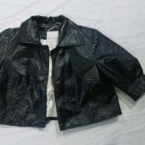 Walter black faux leather crinkle cropped jacket